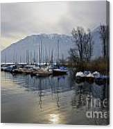 Port With Snow-capped Mountain Canvas Print