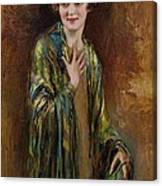 Portrait Of A Girl With A Green Shawl Canvas Print