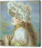 Portrait Of A Young Woman In A Lace Hat Canvas Print