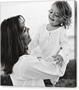 Portrait Of Mother And Daughter Canvas Print