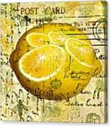 Postcard Lemons Canvas Print