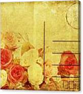 Postcard With Floral Pattern Canvas Print