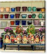 Pots And Birdhouses Canvas Print