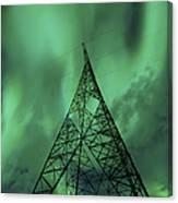Powerlines And Aurora Borealis Canvas Print