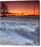 Powerlines In Winter Canvas Print