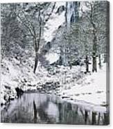 Powerscourt Waterfall In Winter, County Canvas Print
