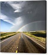 Prairie Hail Storm And Rainbow Canvas Print