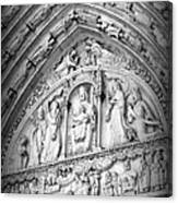 Prayers At Notre Dame - Black And White Canvas Print