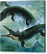 Pre-historic Crocodiles Eating A Fish Canvas Print