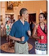 President And Michelle Obama Pretend Canvas Print
