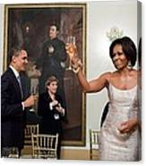 President And Michelle Obama Toast Canvas Print