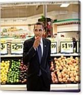President Barack Obama Eats A Peach Canvas Print