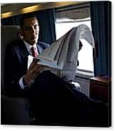 President Barack Obama Reading Canvas Print