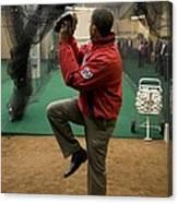 President Barack Obama Warms Canvas Print