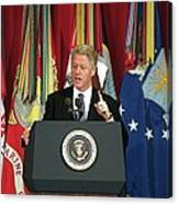 President Clinton Delivers An Canvas Print