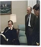 President George Bush In A Telephone Canvas Print