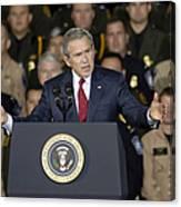 President George W. Bush Speaks Canvas Print