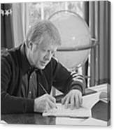 President Jimmy Carter Working Canvas Print