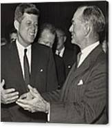President Kennedy Talking With Arkansas Canvas Print