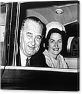 President Lyndon B. Johnson And First Canvas Print