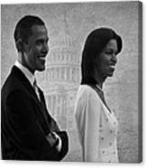President Obama And First Lady Bw Canvas Print