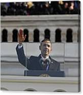 President Obama Gestures As He Delivers Canvas Print