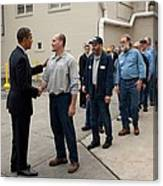 President Obama Greets Workers At Shift Canvas Print