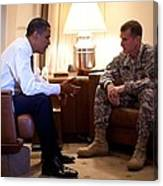 President Obama Meets With Army Gen Canvas Print