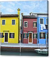 Primary Colors In Burano Italy Canvas Print