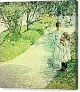 Promenaders In The Garden Canvas Print