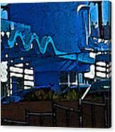 Pueblo Downtown Blue Abstract Canvas Print