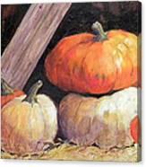 Pumpkins In Barn Canvas Print