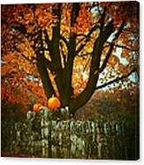 Pumpkins On The Wall Canvas Print