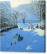 Pushing The Sledge Canvas Print