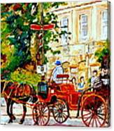 Quebec City Street Scene The Red Caleche Canvas Print