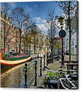 Raamgracht And Groenburgwal. Amsterdam Canvas Print