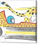 Race Car And Cheetah Cartoon Canvas Print