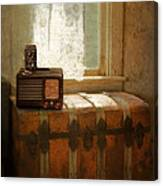 Radio And Camera On Old Trunk Canvas Print