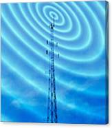 Radio Mast With Radio Waves Canvas Print