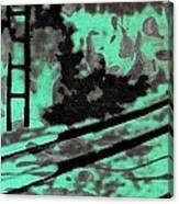 Railway - Schattenbild Siebdrucktechnik Canvas Print