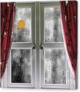 Rain On A Window With Curtains Canvas Print