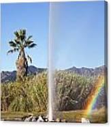 Rainbow At Old Faithful Canvas Print