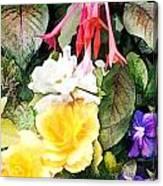 Rainbow Flower Basket Canvas Print