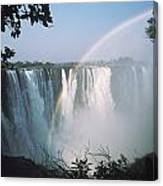 Rainbow In Front Of Victoria Falls Canvas Print