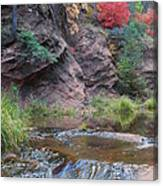 Rainbow Of The Season And River Over Rocks Canvas Print