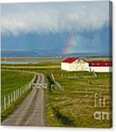 Rainbow Over Iceland Farm Canvas Print