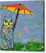 Raining Frogs On Kittyboy Canvas Print