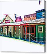 Ranch Buildings - Hdr White Canvas Print