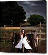 Ranch Woman On Wagon Canvas Print