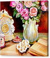 Red And Pink Roses And Daisies - The Doves Of Peace-angels And The Bible Canvas Print